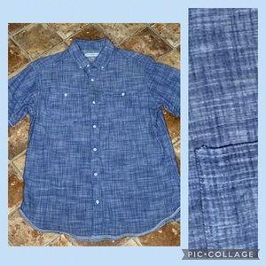 PD & C Blue Short Sleeve Button Up Shirt M